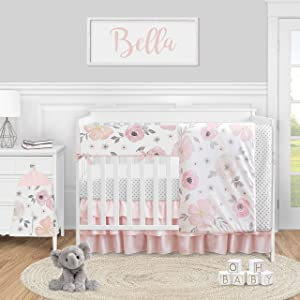 Sweet Jojo Designs Pink and Grey Watercolor Floral Baby Girl Nursery Crib Bedding Set - 5 Pieces - Blush Gray and White Shabby Chic Rose Flower Polka Dot