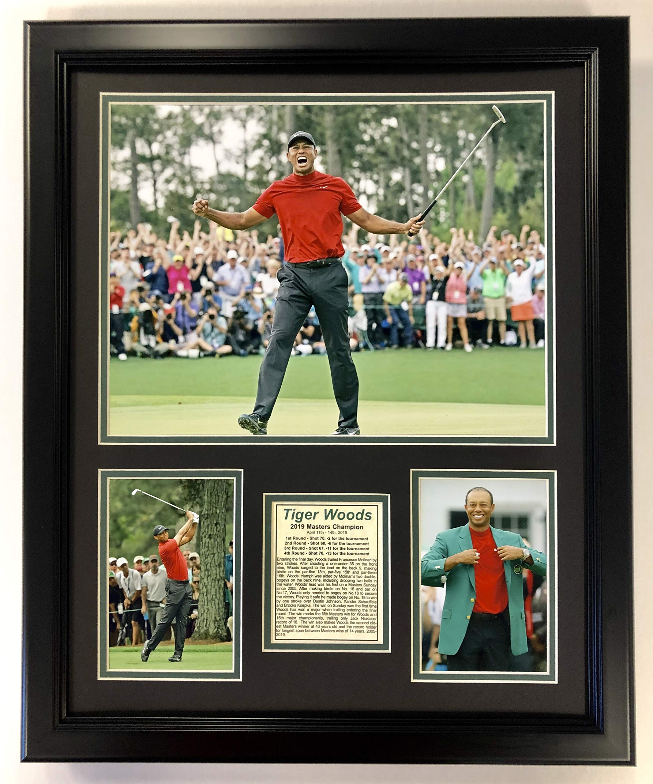 Legends Never Die Tiger Woods - 2019 Masters Champion Celebration - 18'' x 22'' Framed Double Matted Photo by Legends Never Die (Image #1)