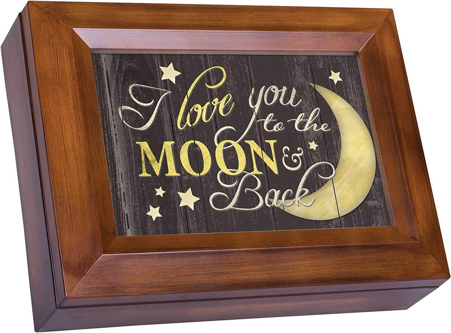 Cottage Garden Love You to The Moon and Back Woodgrain Digital Keepsake Music Box Plays My Wish