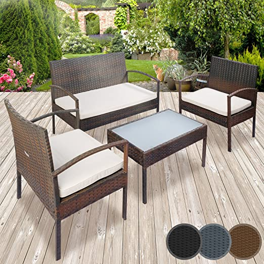 Miadomodo – Conjunto de muebles de poliratán para jardín – 1 mesa, 2 sillones individuales, 1 sillón de dos plazas con cojines – colores a elegir: Amazon.es: Jardín