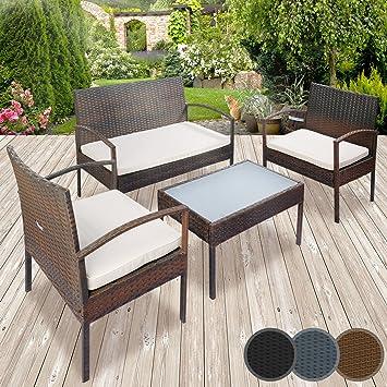 Miadomodo - Conjunto de muebles de poliratán para jardín - 1 ...