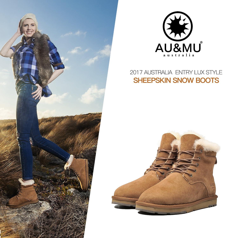 AU&MU Women's Full Fur Sheepskin Suede Winter Snow Boots B073F91BXS 11 B(M) US Chestnut 2