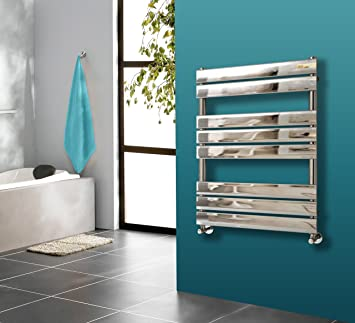 Bathroom 1200x600mm Heated Towel Rail Radiator Central Heating Flat Panel Chrome