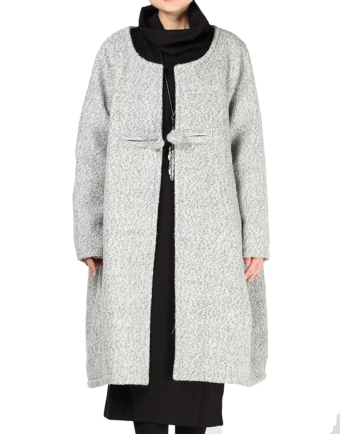 Mordenmiss Women Loose One-Chinese Frog Button Wool Coat CA-LG009