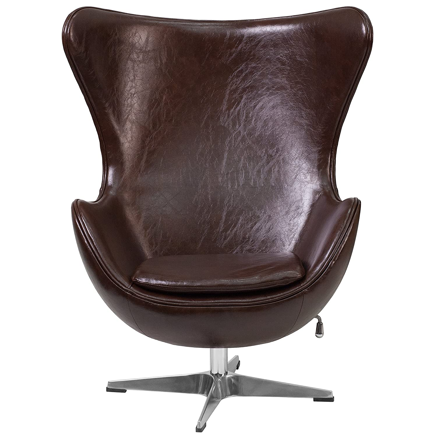 Amazon.com: Flash Furniture Brown Leather Egg Chair With Tilt Lock  Mechanism: Kitchen U0026 Dining