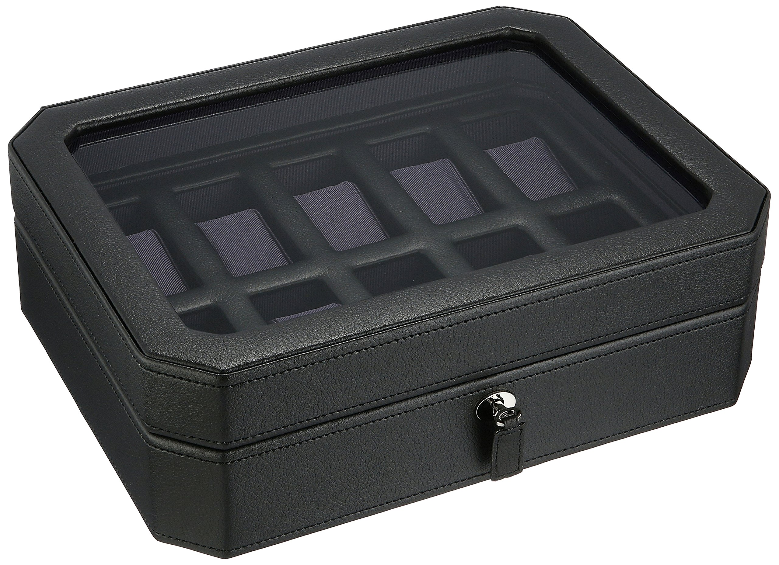 WOLF 458403 Windsor 10 Piece Watch Box with Cover, Black/Purple by WOLF