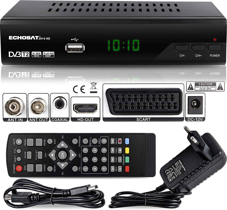 Echosat 2910 DVBT2 - Receptor Full HD 1080P 4K para TV (HEVC/H.265 HDMI SCART, USB 2.0, DVBT-2, DVB-T2, DVB T2, DVBT 2), Reciver, Resiver, Receptor, Color Negro: Amazon.es: Electrónica