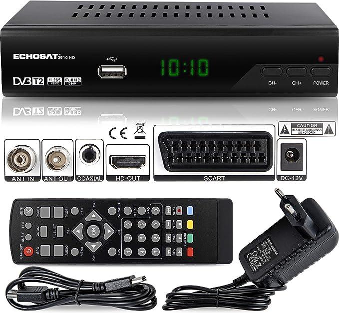 Echosat 2910 DVBT2 - Receptor Full HD 1080P 4K para TV (HEVC/H.265 HDMI SCART, USB 2.0, DVBT-2, DVB-T2, DVB T2, DVBT 2), Receptor, Receptor, Receptor, ...