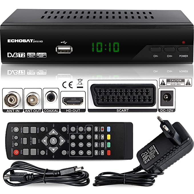 36 opinioni per Echosat 2910 S DVB-T/T2 Ricevitore Digitale- ✓ Full HD [1920 x 1080] ✓ HDMI ✓