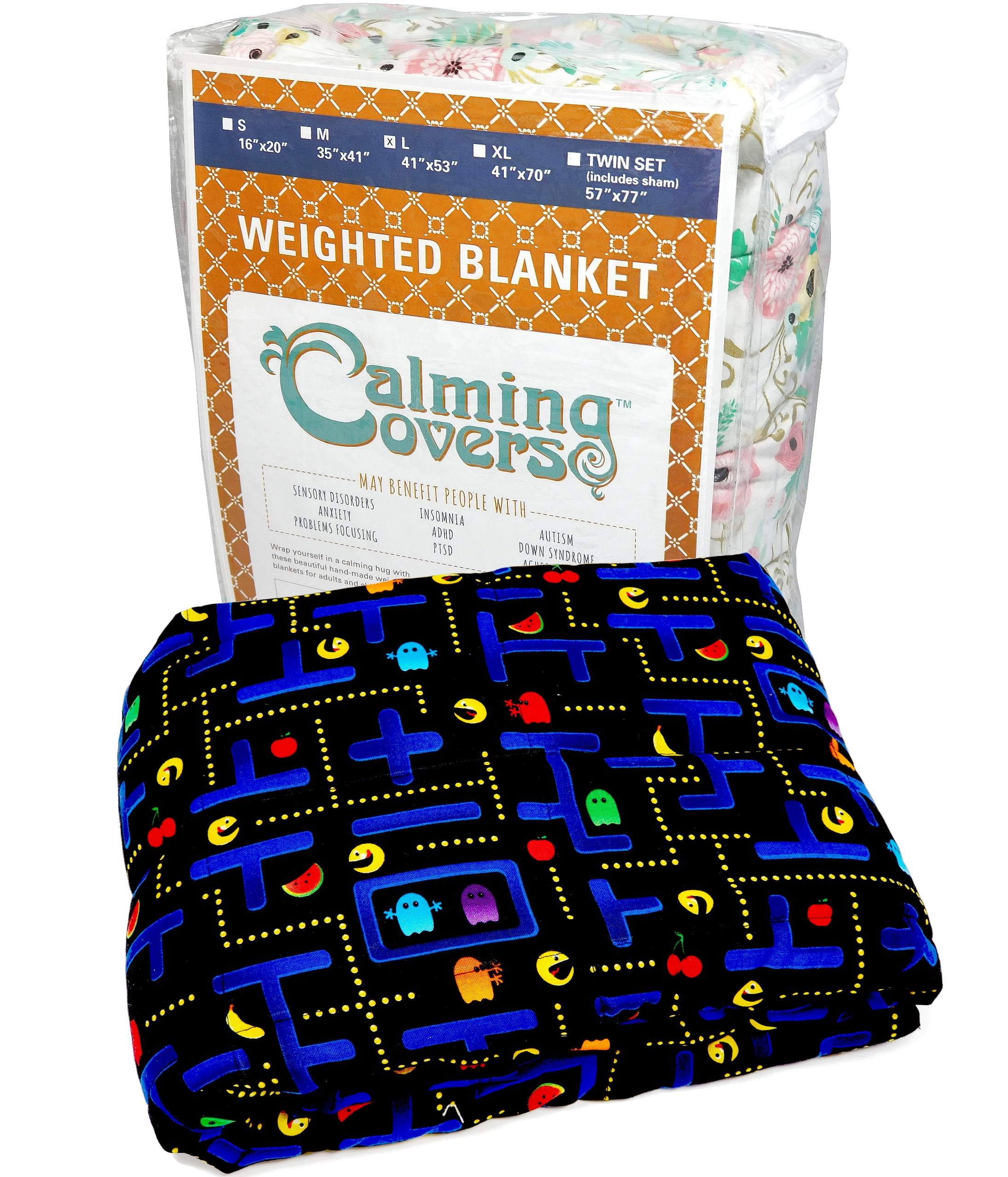 The Swanky Stitchery Designer Weighted Blanket kids (adult) | Dozens cute styles in many sizes | Gravity blankets may help relieve anxiety, stress & insomnia | Style - Arcade | Cotton - 6 lbs