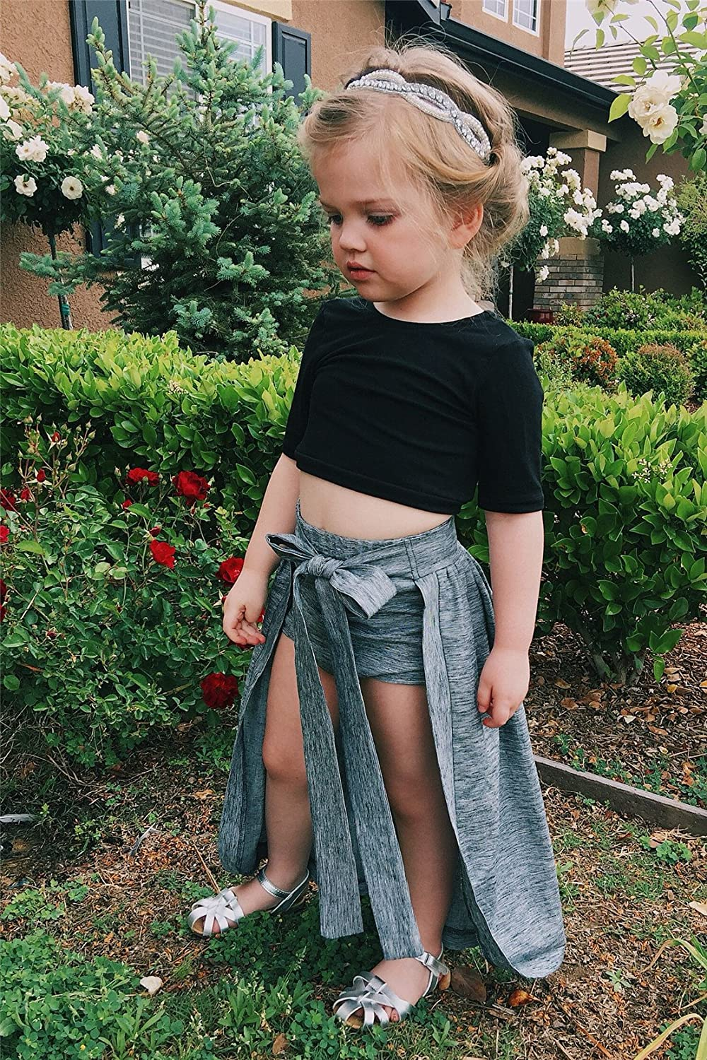 Grey Shorts Bowknot Skirts Outfit Clothes 2Pcs// Set Baby Girl Toddler 2//3 Sleeve Black Crop Top