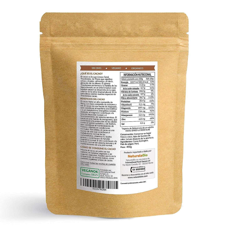 Cacao crudo Ecológico en Polvo 400g | Organic Raw Cacao Powder | 100% Bio, Natural y Puro | Producido en Perú a partir de la planta Theobroma Cacao | Rico ...