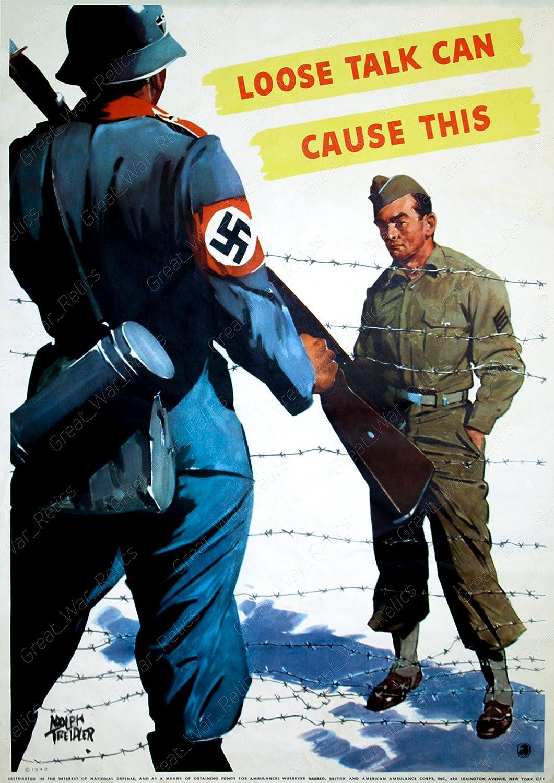 UpCrafts Studio Design WW2 Anti-Nazi Poster Propaganda - Loose Talk CAN Cause This - WWII American Propaganda Prints Wall Art Decor (11.7x16.5, Unframed Poster Prints)