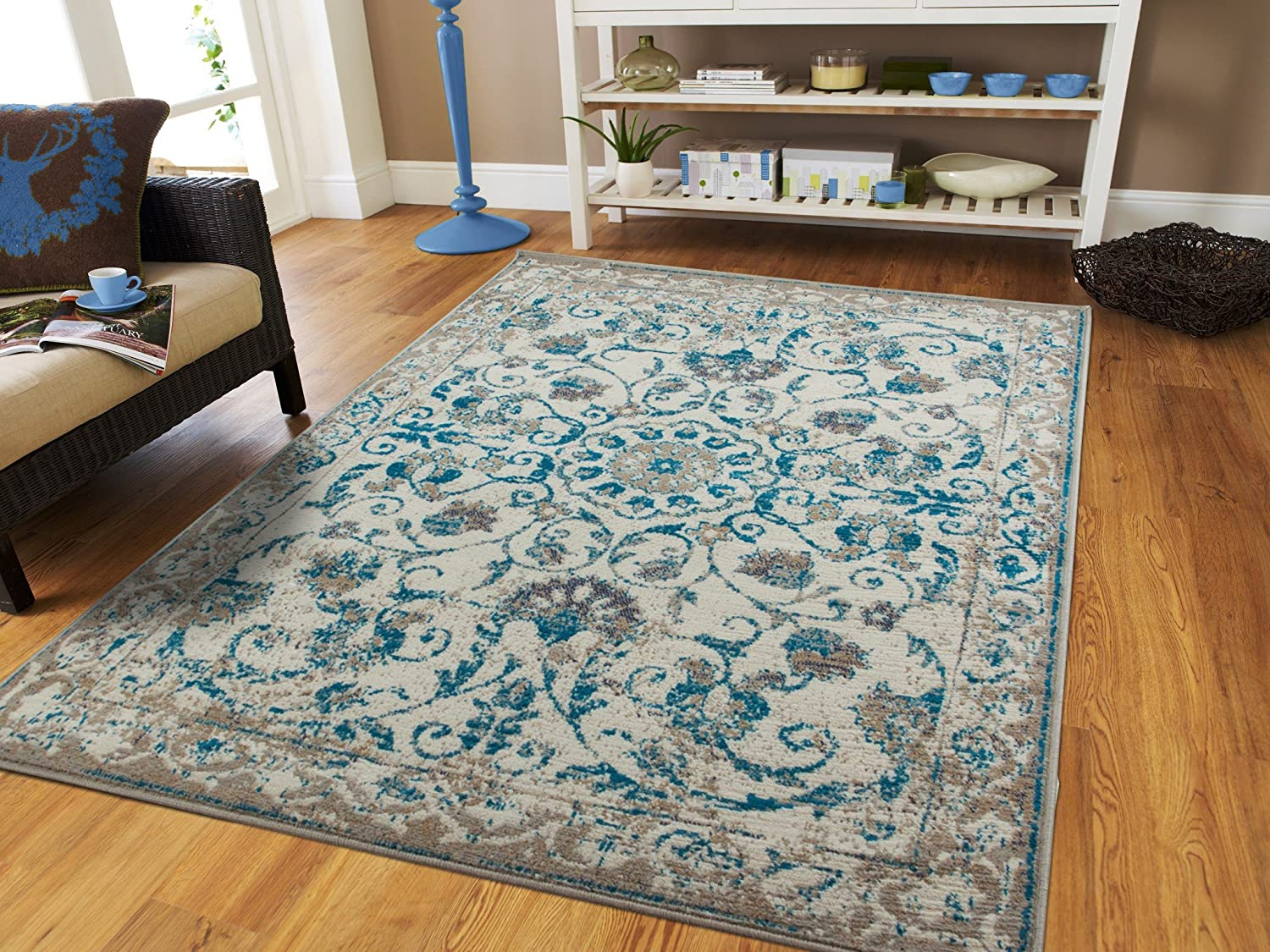 Amazon.com: Traditional Vintage Area Rug Distressed Rug Blue 2x8 ...