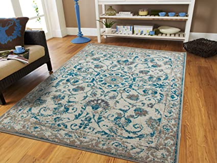 New Amazon.com: Traditional Vintage Area Rug Distressed Rug Blue 2x8  OW15