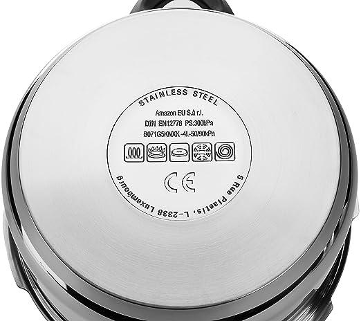 AmazonBasics - Olla a presión de acero inoxidable, 4 L ...
