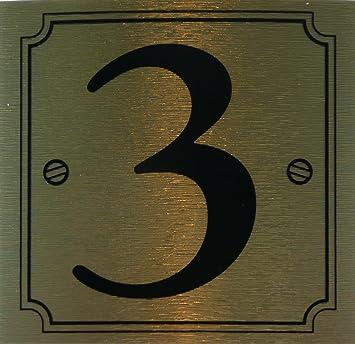 eCobbler Stick On Door Number gold background - Number 3 & eCobbler Stick On Door Number gold background - Number 3: Amazon.co ...