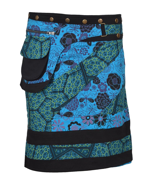 TATTOPANI Falda de algodón de Las Mujeres Falda de botón de Estampado Floral Warp Mini Falda