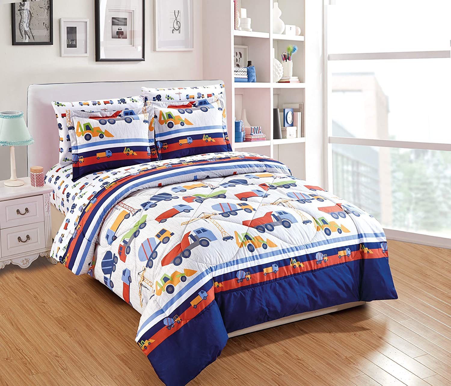 Linen Plus Queen Size 7pc Comforter Set for Kids Trucks Construction Blue Red Green Yellow White New
