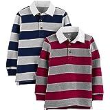 Simple Joys by Carter's Paquete de 2 Camisas de Manga Larga, Rayas de Rugby Juego de Camiseta para Niños