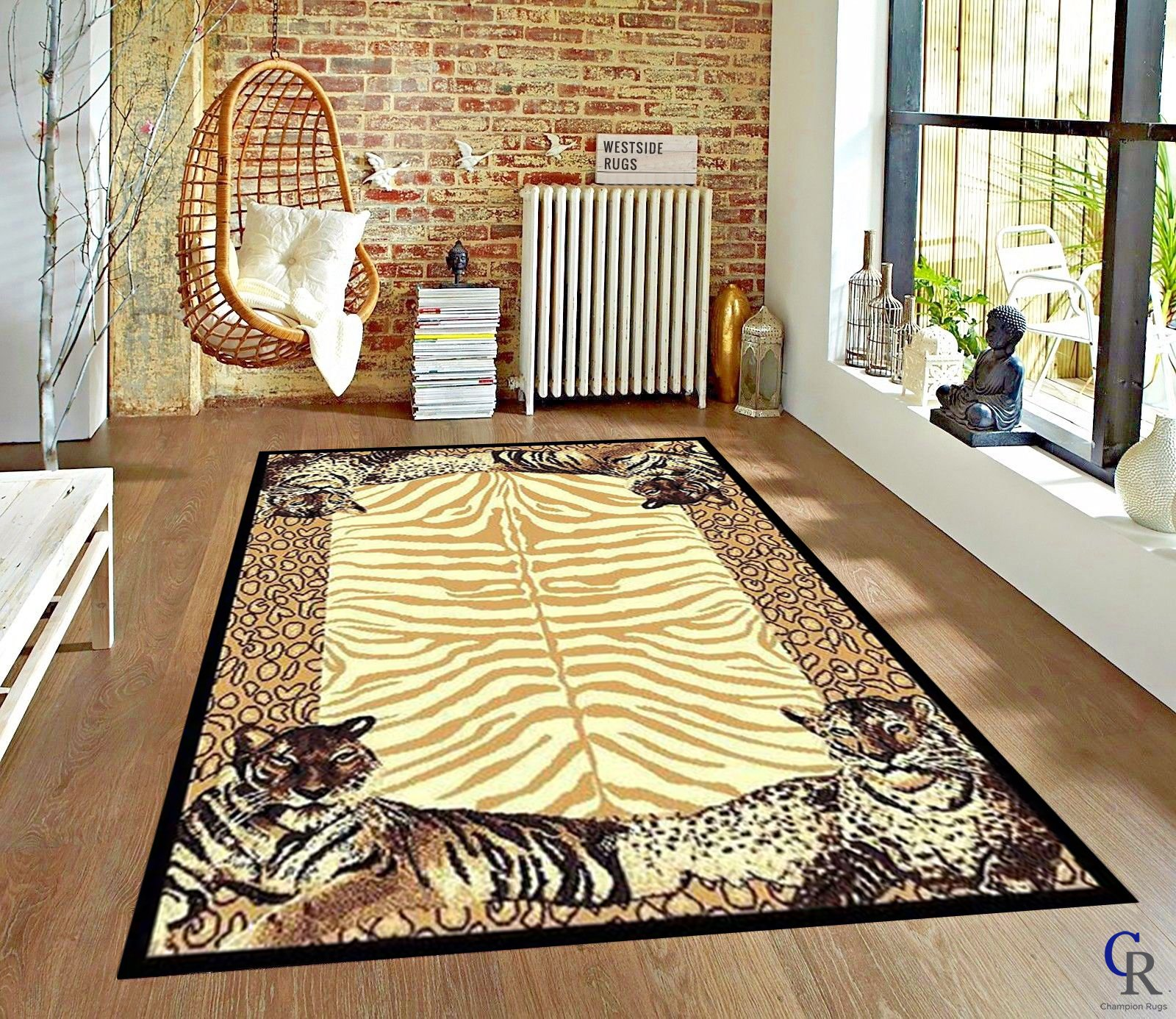 """Leopard Animal Skin Print with Tiger Border Area Rug (5' 3"""" x 7' 5"""") by Champion Rugs"""