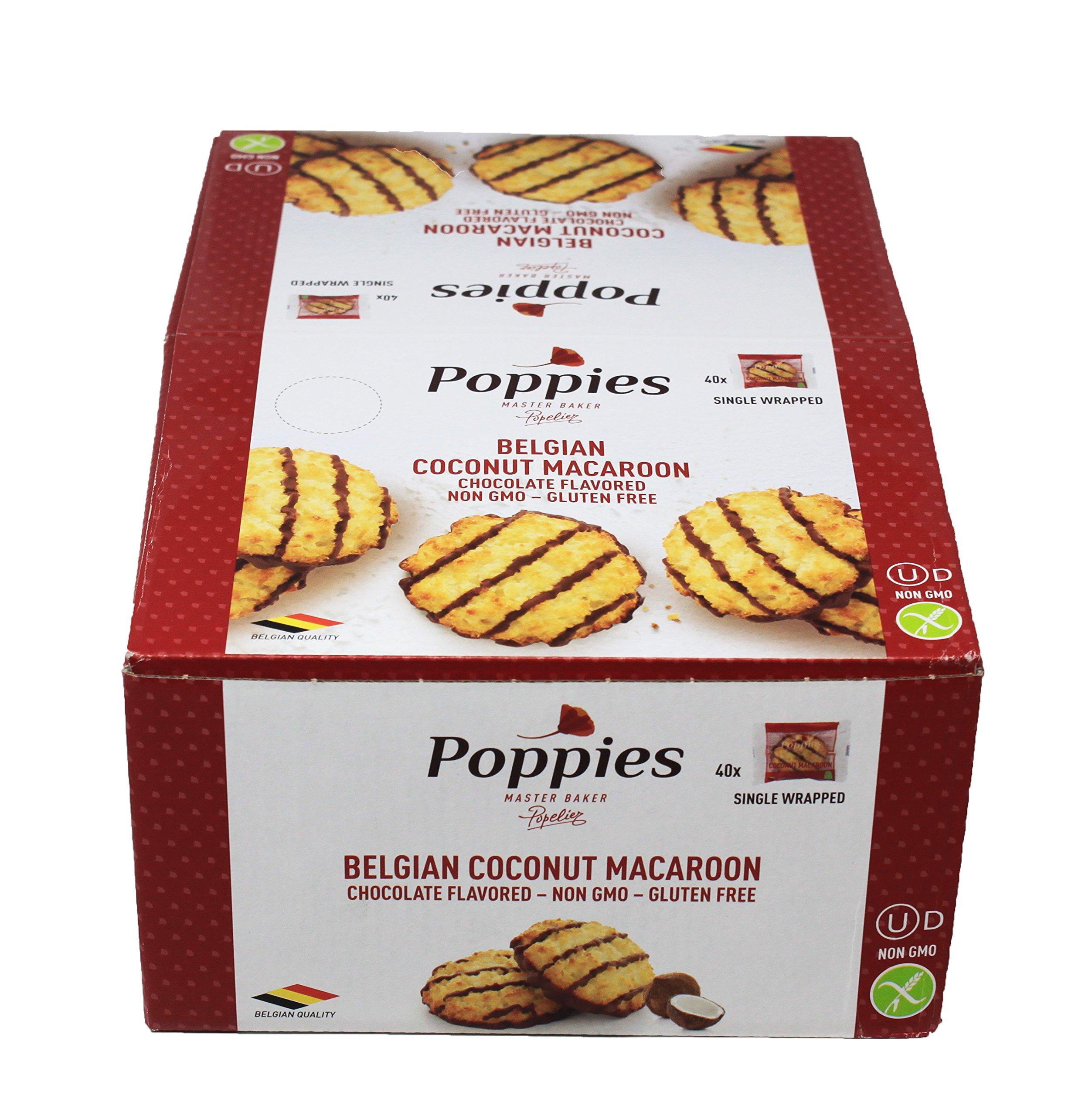Poppies Belgium Coconut Macaroon Single Serve Cookies | 40CT Box | Non-GMO, Gluten Free by Poppies