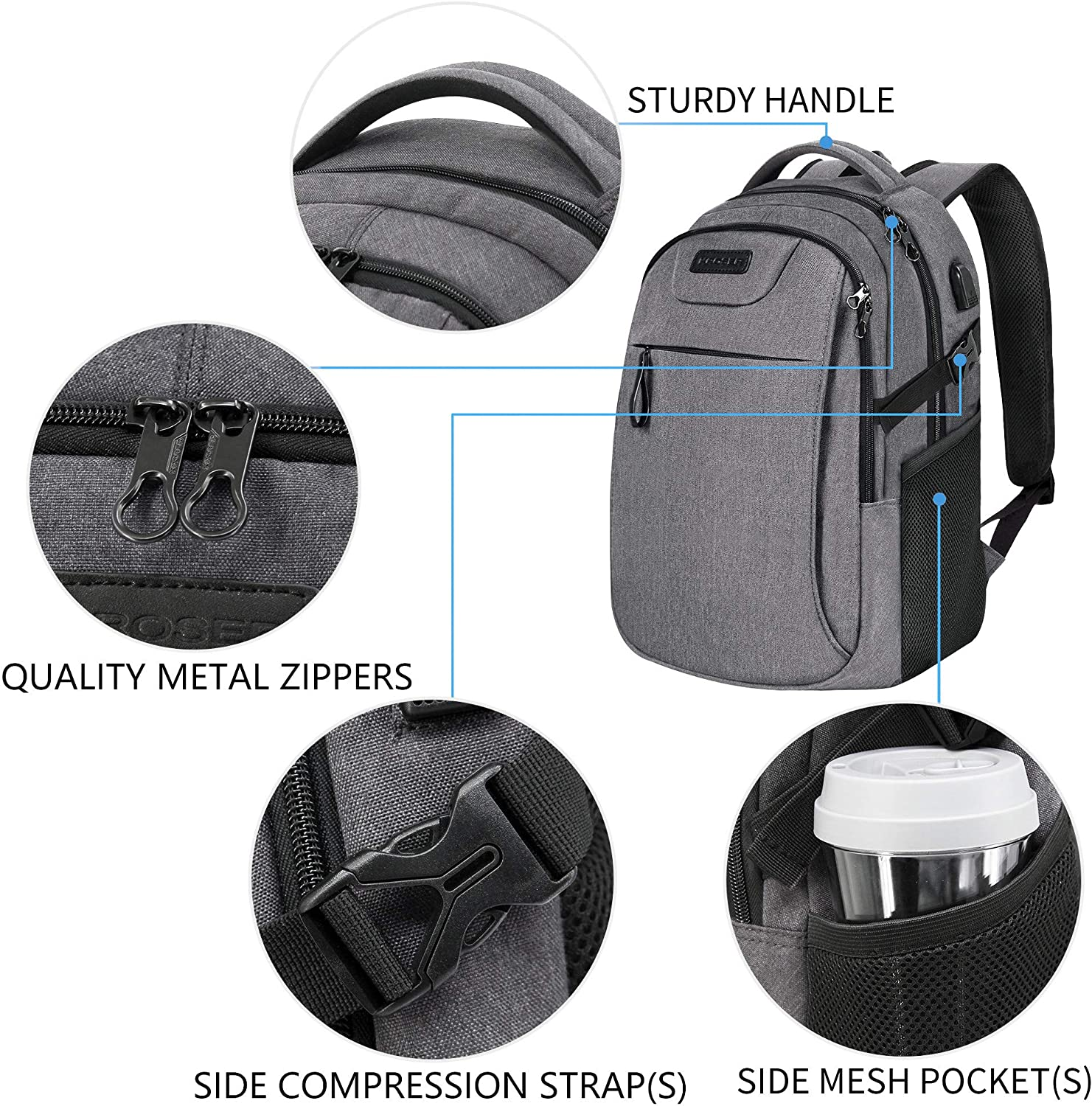 KROSER Laptop Backpack for 15.6 Inch Laptop Anti-Theft Computer Backpack with USB Charging Port Water-Repellent Casual Daypack for Travel//Business//School//College//Men//Women-Charcoal Black