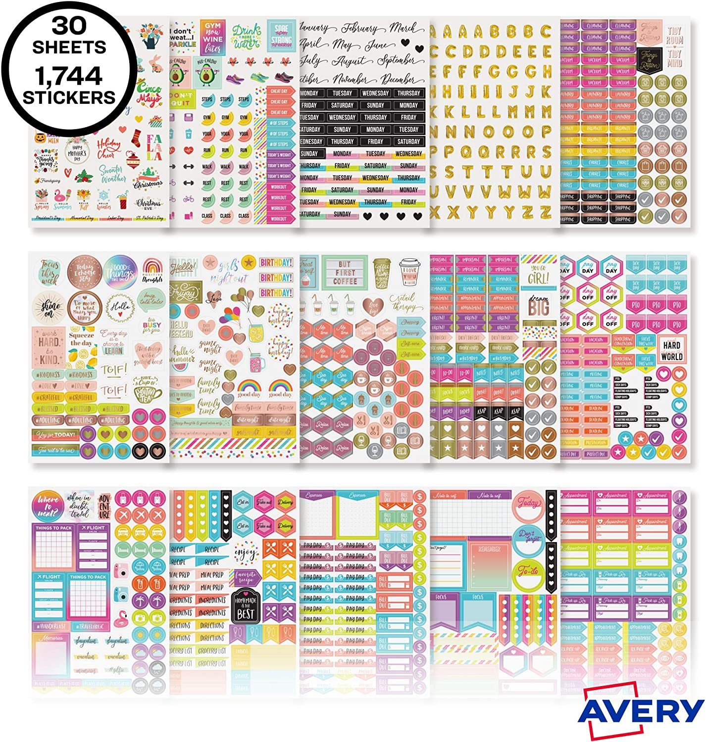 Weekly Calendar and Journal Sticker Sheets 1,744 Stickers Avery Planner Stickers Variety Pack 6785