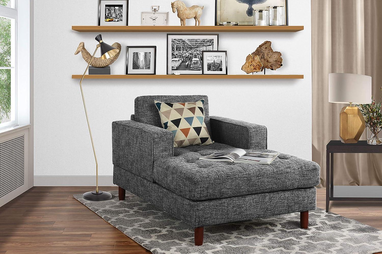 Mid Century Modern Linen Fabric Living Room Chaise Lounge (Light Grey)
