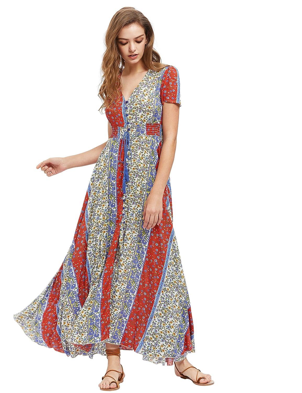 32284c54e18 Amazon.com  Milumia Women s Button Up Split Floral Print Flowy Party Maxi  Dress Yellow S  Clothing