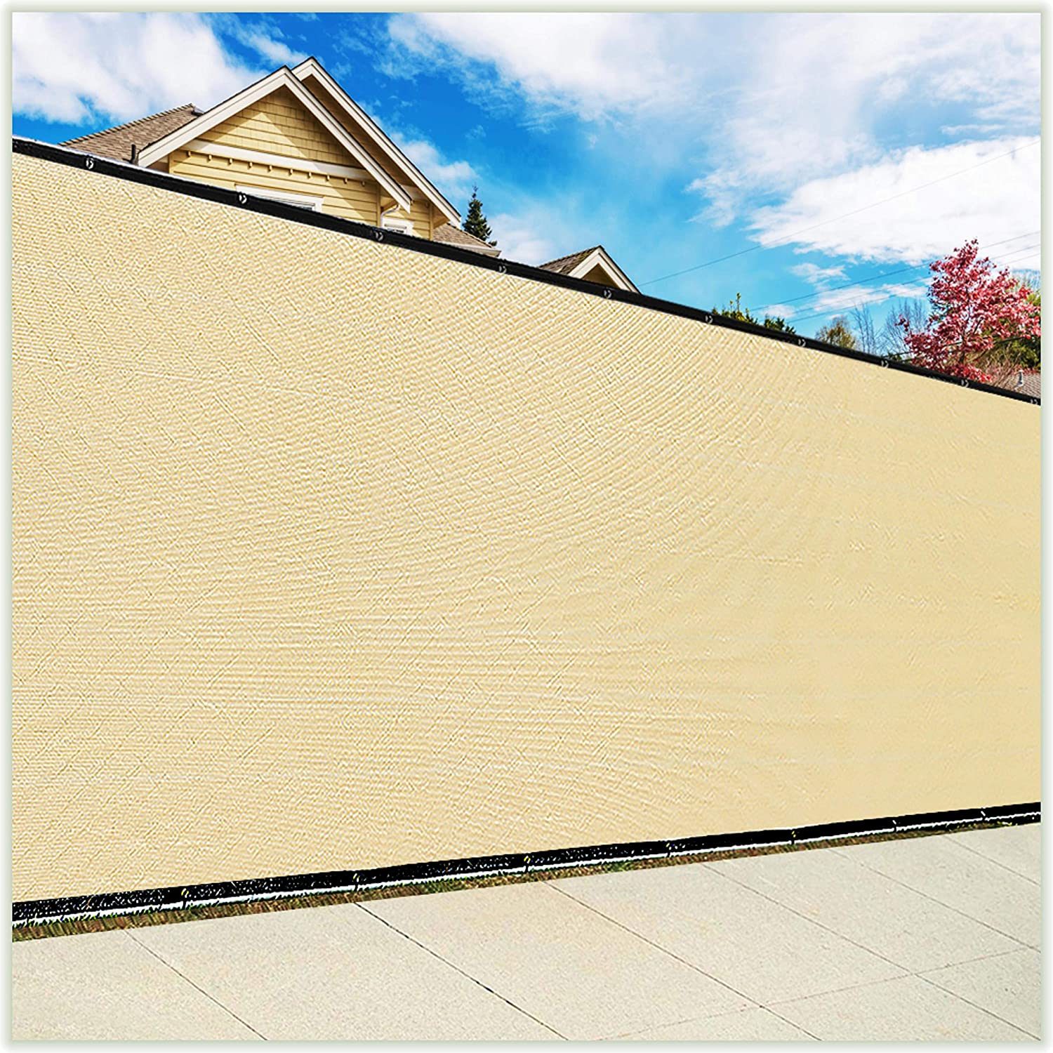 ColourTree 5' x 50' Beige Fence Privacy Screen Windscreen Cover Fabric Shade Tarp Netting Mesh Cloth - Commercial Grade 170 GSM - Cable Zip Ties Included - We Make Custom Size