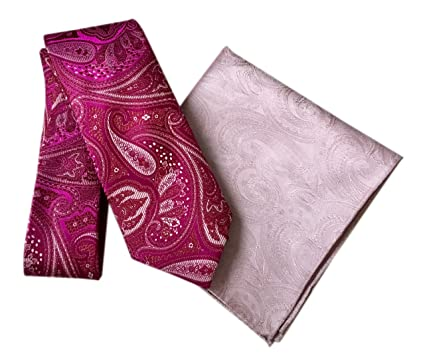 e2b054718a24 Image Unavailable. Image not available for. Colour: DUCHAMP London Men's 100%  Silk Paisley Tie & Pocket Square - Fuchsia & Pink Design