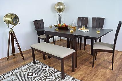 Juego de mesa y 4 sillas de comedor con banco extensible de madera ...
