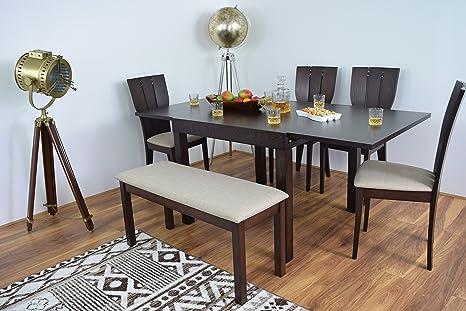 Juego de mesa y 4 sillas de comedor con banco extensible de ...