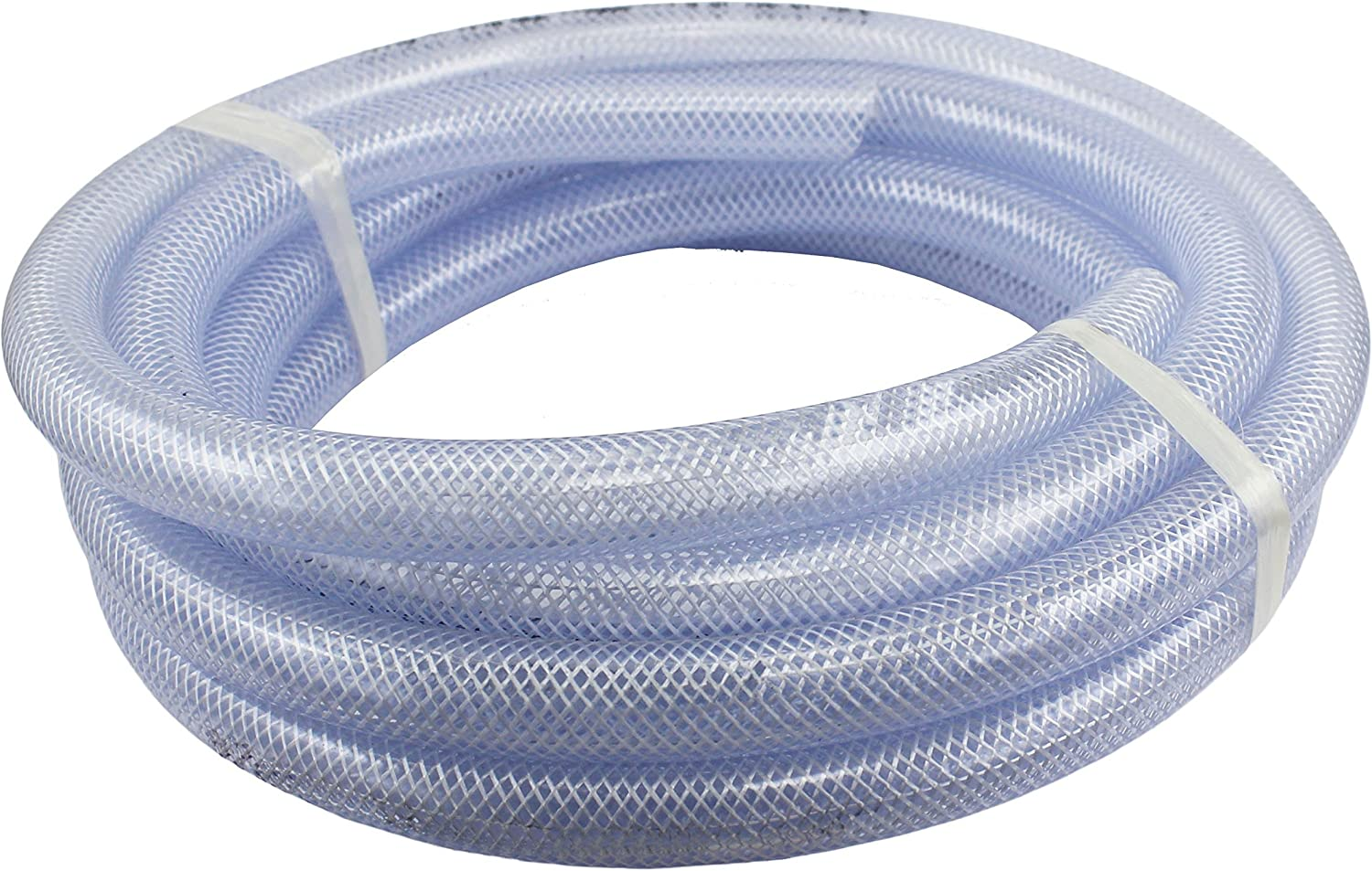 "10 ft x 3/4"" ID High Pressure Braided Clear Flexible PVC Tubing Heavy Duty UV Chemical Resistant Vinyl Hose"