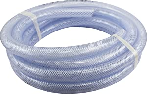 "Duda Energy HPpvc050-100ft 100' x 1/2"" ID High Pressure Braided Clear Flexible PVC Tubing Heavy Duty UV Chemical Resistant Vinyl Hose Water Oil"