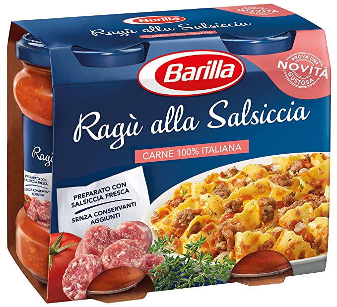 Barilla Ragù Tomato Sauce with Sausage for Pasta (2x 180g) Ready to Eat!
