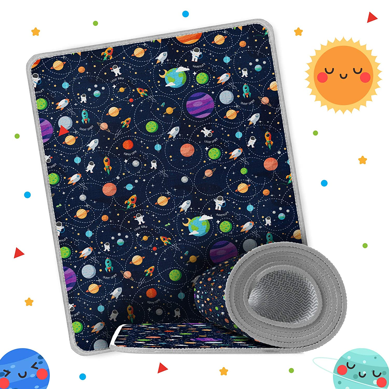 Space Baby Play Mat 79x71x0.7 Inches, Double Sided Reversible Playmat, Waterproof Anti-Slippery Activity Rug, Playful for Tummy Time