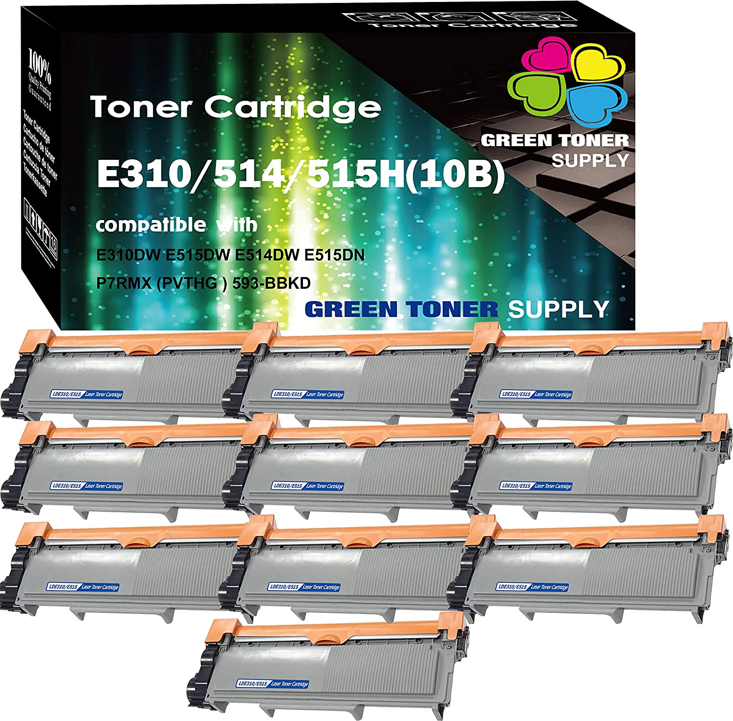 (10 x Black) Compatible E310 E515 593-BBKD Toner Cartridge for use in (PVTHG) Dell E310dw E514dw E515dw E515dn Printer