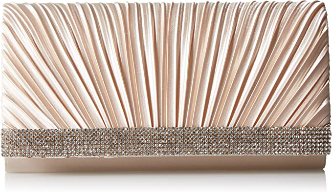 Jessica McClintock Chloe Satin Pleated Rhinestone Evening Clutch with Shoulder Chain, Champagne best dressy clutches