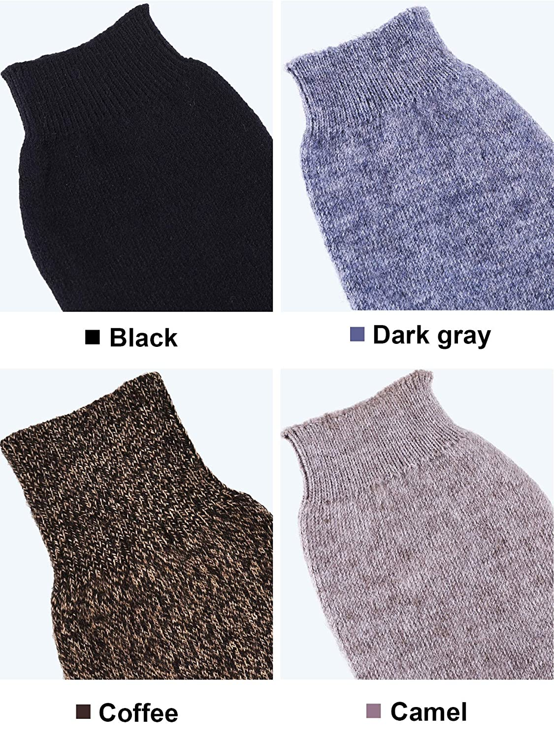 Tatuo 4 Pairs Cashmere Feel Fingerless Gloves with Thumb Hole Warm Gloves for Women and Men