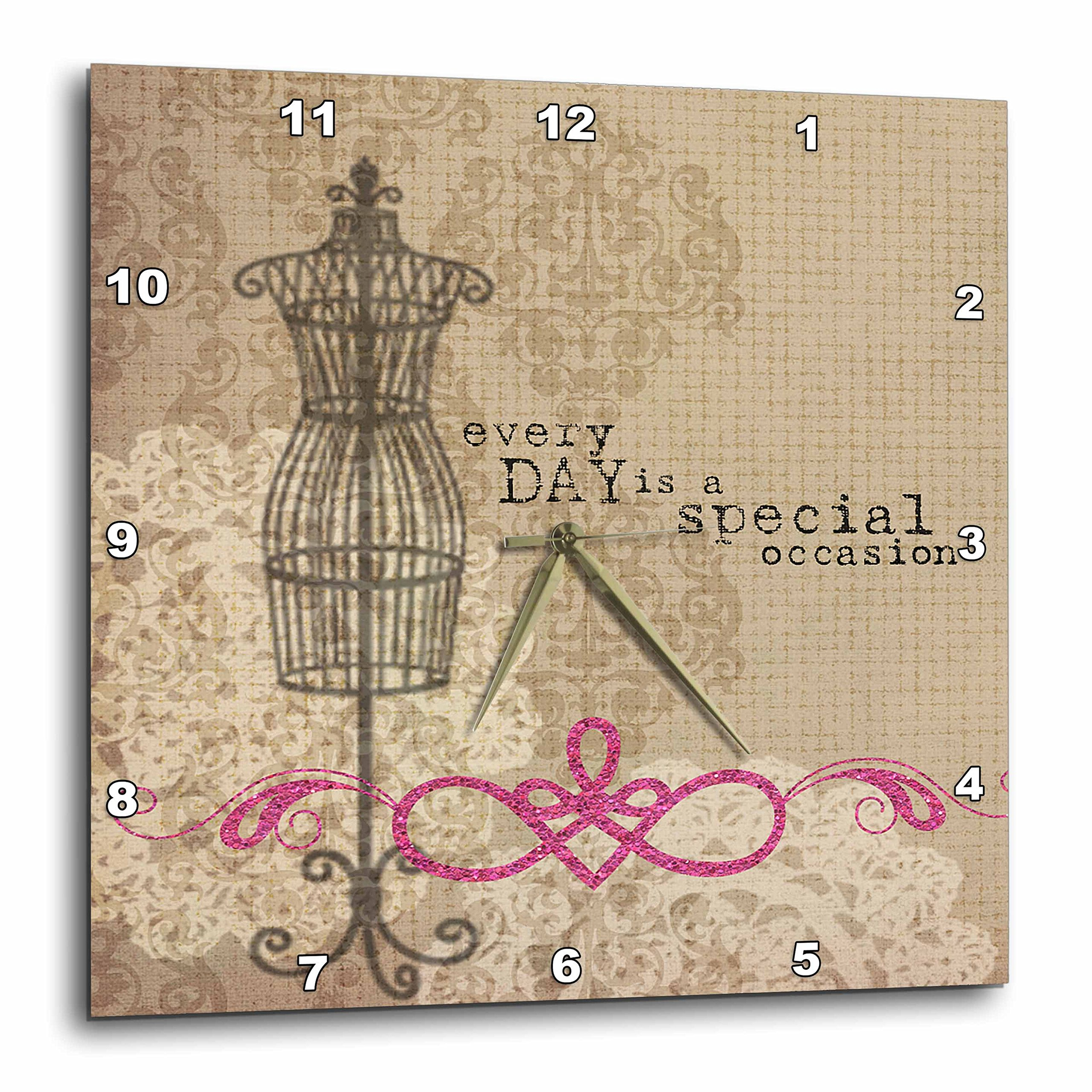 3dRose Vintage Dress Form with Every Day is A Special Occasion - Wall Clock, 15 by 15-Inch (DPP_213957_3)