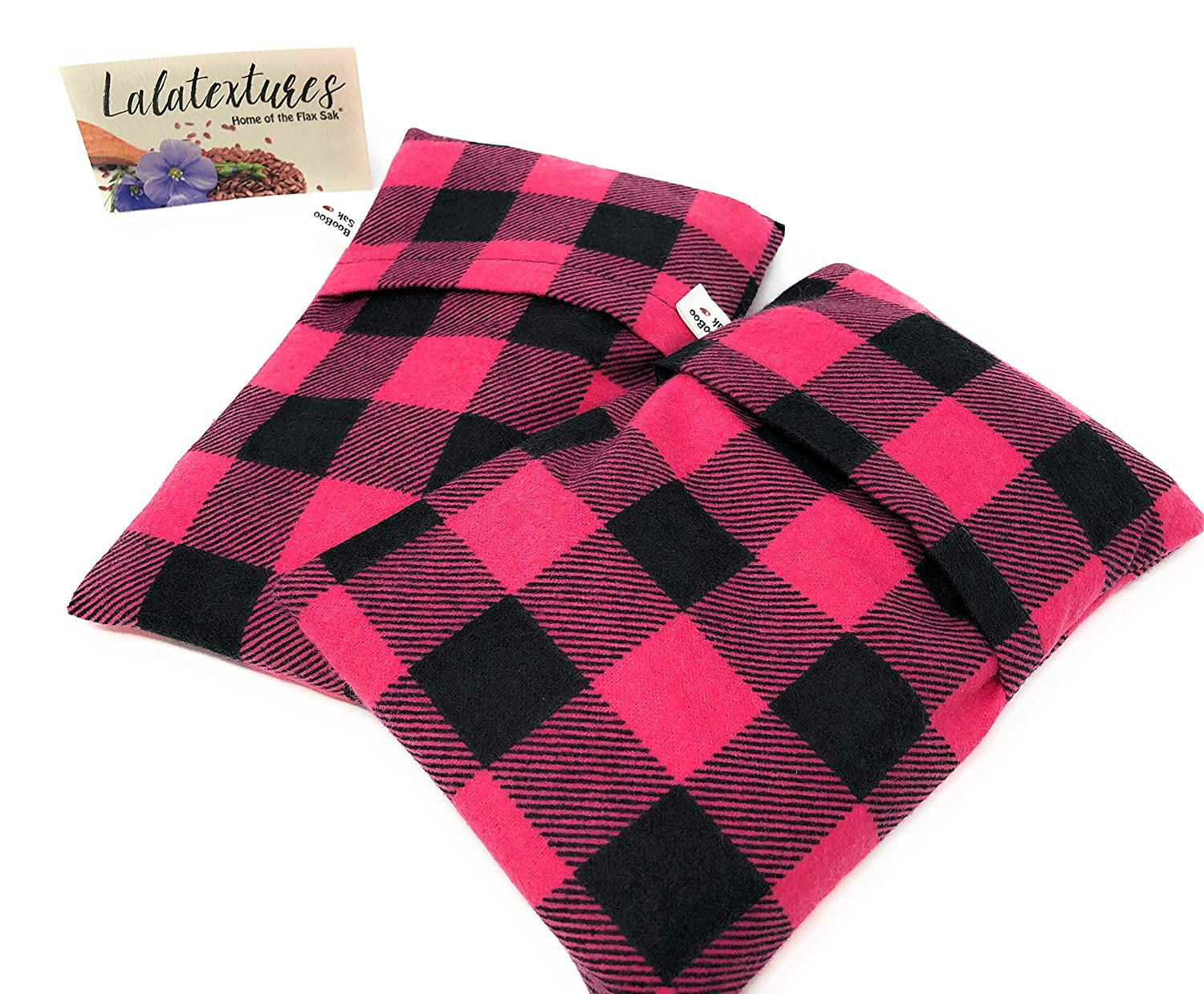 Two Organic Lavender BooBoo Flax Saks, Microwaveable Heating Pads for Children. Keep them in the freezer to soothe their bumps and bruises! Pink Plaid