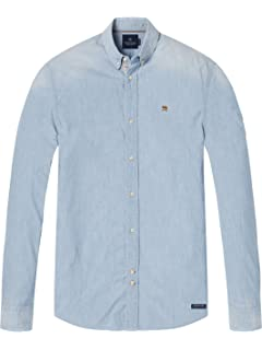 Lightweight Brushed Flannel Shirt with Workwear Elements, T-Shirt à Manches Longues Homme, Multicolore (Combo D 20), SmallScotch & Soda