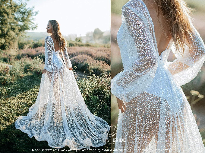 Amazon Com Transparent Ivory Mermaid Sequin Beaded Bridal Dress