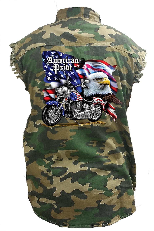 Mens Camo Sleeveless Denim Shirt USA Flag American Pride Bald Eagle Camouflage