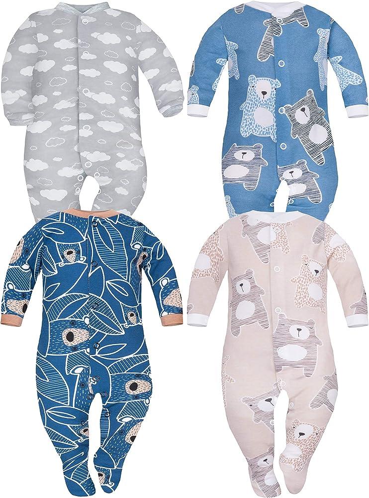 Sibinulo Nino Nina Pijama Bebé Pelele de Algodón Pack de 4 Koala ...