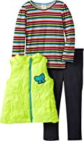 Young Hearts Little Girls' 3 Piece Striped Bow Vest and Pant Set