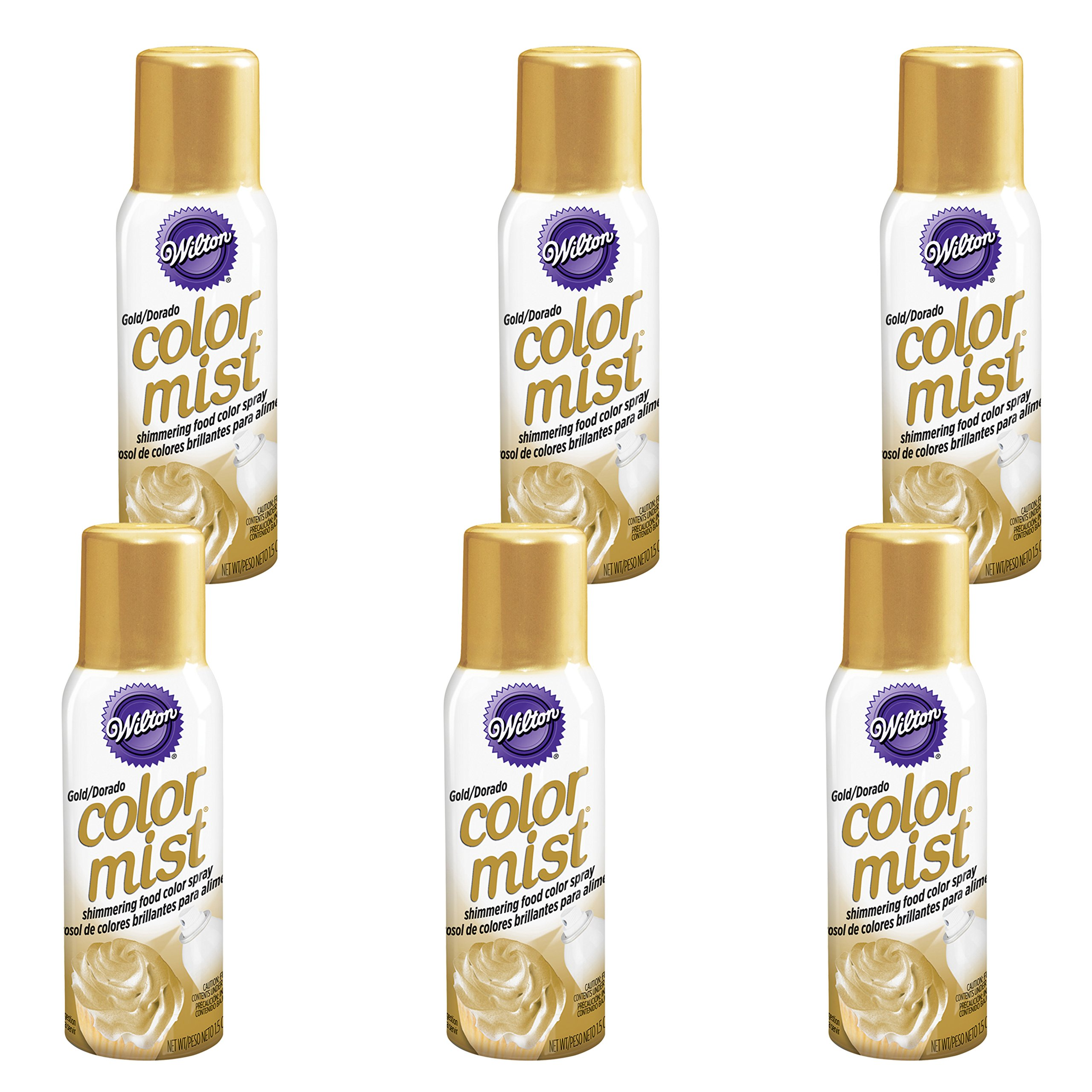 Wilton Gold Color Mist Shimmering Food Color Spray, Multipack of 6 by Wilton (Image #1)