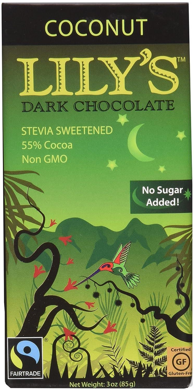 Amazon.com : Lily's Dark Chocolate Bar with Coconut Stevia, 3 ...